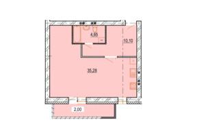 ЖК StyleUP: планування 1-кімнатної квартири 52.03 м²