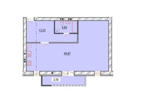 ЖК StyleUP: планування 1-кімнатної квартири 69.55 м²