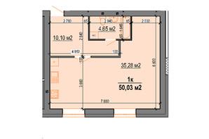 ЖК StyleUP: планування 1-кімнатної квартири 50.03 м²