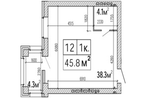 ЖК SunCity: планировка 1-комнатной квартиры 45.8 м²