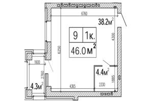 ЖК SunCity: планировка 1-комнатной квартиры 46 м²
