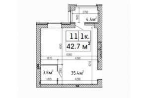 ЖК SunCity: планировка 1-комнатной квартиры 42.7 м²