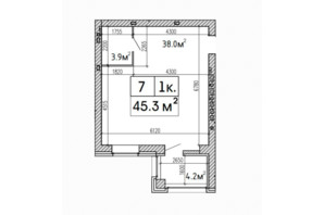 ЖК SunCity: планировка 1-комнатной квартиры 45.3 м²