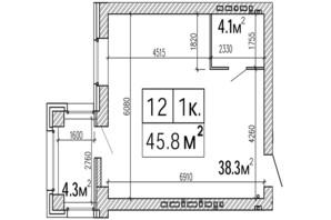 ЖК SunCity: планування 1-кімнатної квартири 45.8 м²