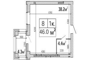 ЖК SunCity: планування 1-кімнатної квартири 46 м²