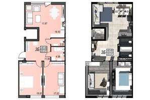 ЖК Sunrise City: свободная планировка квартиры 87.69 м²