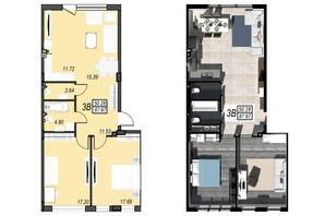 ЖК Sunrise City: свободная планировка квартиры 87.97 м²