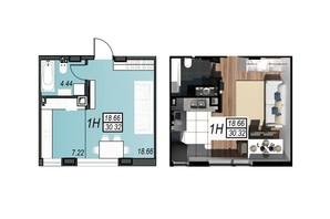 ЖК Sunrise City: планировка 1-комнатной квартиры 30.13 м²