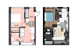 ЖК Sunrise City: планировка 1-комнатной квартиры 39.66 м²