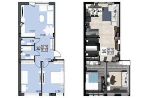 ЖК Sunrise City: свободная планировка квартиры 87.6 м²