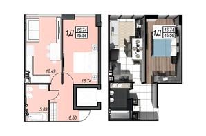 ЖК Sunrise City: планировка 1-комнатной квартиры 45.3 м²