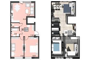ЖК Sunrise City: свободная планировка квартиры 88.91 м²