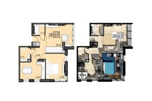 ЖК Sunrise City: планировка 2-комнатной квартиры 58.45 м²
