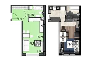 ЖК Sunrise City: планировка 1-комнатной квартиры 31.19 м²
