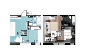 ЖК Sunrise City: планировка 1-комнатной квартиры 30.32 м²