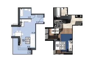 ЖК Sunrise City: планування 1-кімнатної квартири 37.13 м²