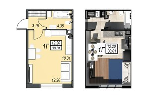 ЖК Sunrise City: планування 1-кімнатної квартири 30.01 м²