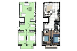 ЖК Sunrise City: планування 3-кімнатної квартири 95.6 м²