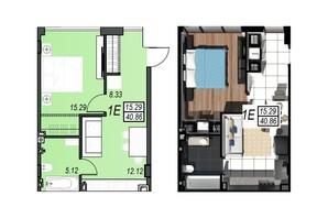 ЖК Sunrise City: планування 1-кімнатної квартири 40.42 м²