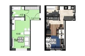 ЖК Sunrise City: планування 1-кімнатної квартири 31.19 м²