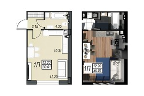 ЖК Sunrise City: планування 1-кімнатної квартири 29.83 м²