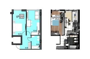 ЖК Sunrise City: планування 1-кімнатної квартири 45.38 м²