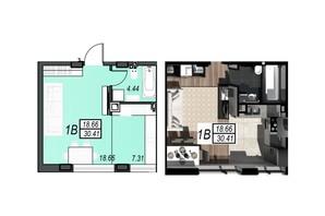 ЖК Sunrise City: планування 1-кімнатної квартири 36.98 м²