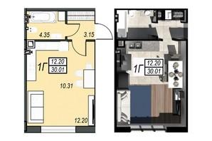 ЖК Sunrise City: планування 1-кімнатної квартири 29.84 м²