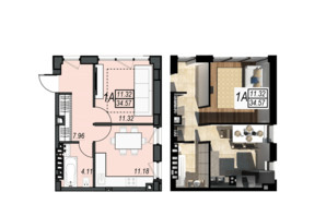 ЖК Sunrise City: планування 1-кімнатної квартири 34.57 м²