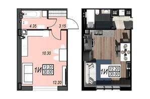 ЖК Sunrise City: планування 1-кімнатної квартири 29.92 м²