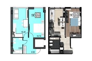 ЖК Sunrise City: планування 1-кімнатної квартири 45.26 м²