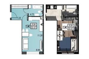 ЖК Sunrise City: планування 1-кімнатної квартири 31.89 м²