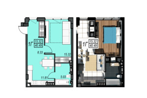 ЖК Sunrise City: планування 1-кімнатної квартири 40.49 м²