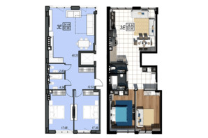 ЖК Sunrise City: планування 3-кімнатної квартири 93.96 м²