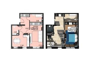 ЖК Sunrise City: планування 1-кімнатної квартири 50.14 м²