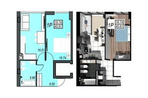 ЖК Sunrise City: планування 1-кімнатної квартири 45.24 м²