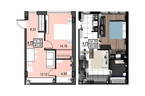 ЖК Sunrise City: планування 1-кімнатної квартири 39.66 м²