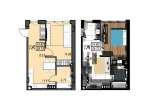 ЖК Sunrise City: планування 1-кімнатної квартири 39.73 м²