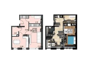 ЖК Sunrise City: планування 1-кімнатної квартири 49.15 м²