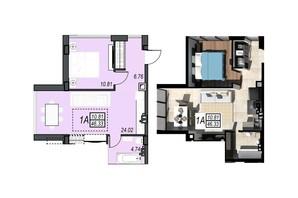 ЖК Sunrise City (Санрайз Сити): планировка 1-комнатной квартиры 34.76 м²