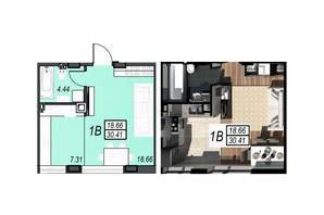 ЖК Sunrise City (Санрайз Сити): планировка 1-комнатной квартиры 30.22 м²