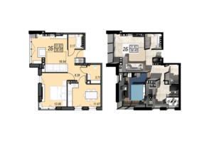 ЖК Sunrise City (Санрайз Сити): планировка 2-комнатной квартиры 58.45 м²