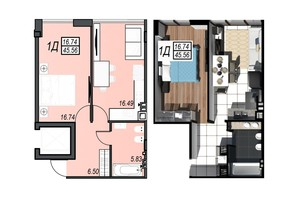 ЖК Sunrise City (Санрайз Сити): планировка 1-комнатной квартиры 45.3 м²