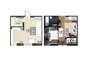 ЖК Sunrise City (Санрайз Сити): планировка 1-комнатной квартиры 30.13 м²
