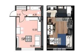 ЖК Sunrise City (Санрайз Сити): планировка 1-комнатной квартиры 31.95 м²