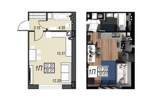 ЖК Sunrise City (Санрайз Сити): планировка 1-комнатной квартиры 29.83 м²