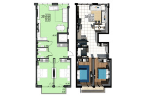 ЖК Sunrise City (Санрайз Сити): планировка 3-комнатной квартиры 95.6 м²