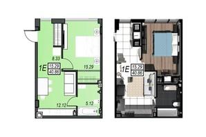 ЖК Sunrise City (Санрайз Сити): планировка 1-комнатной квартиры 40.42 м²