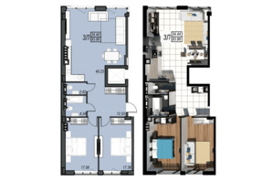 ЖК Sunrise City (Санрайз Сити): планировка 3-комнатной квартиры 93.96 м²