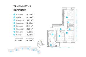 ЖК Супернова: планировка 3-комнатной квартиры 76.13 м²